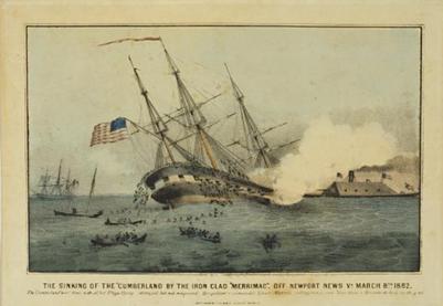 Merrimac sinks the Cumberland